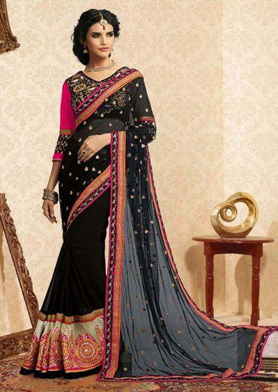 USD 125.21 Black Faux Georgette Lace Work Party Wear Saree  39207