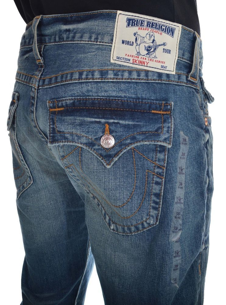 True Religion Mens Jeans Size 42 SKINNY With Flaps Red Orange ...