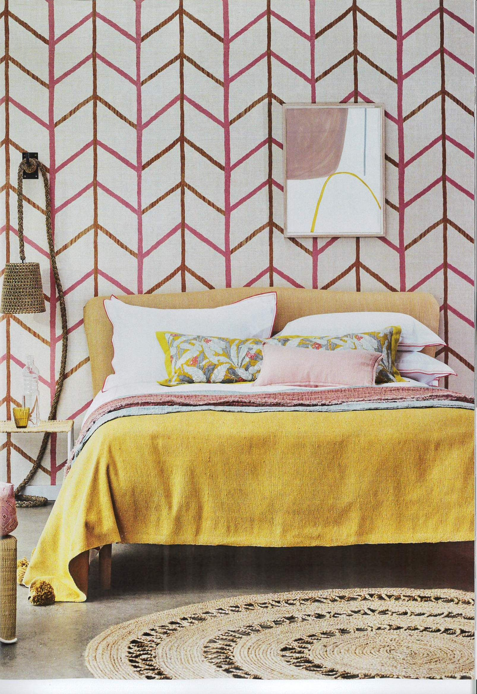 Kit Kemp One Way Grass Cloth Wallpaper in Rose