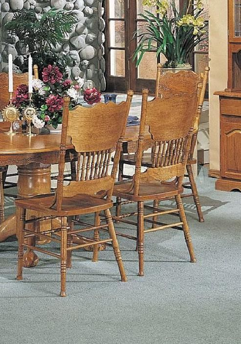 Nostalgia Double Press Back Side Chairs Oak Set Of 5