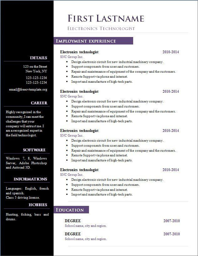 resume templates free open office