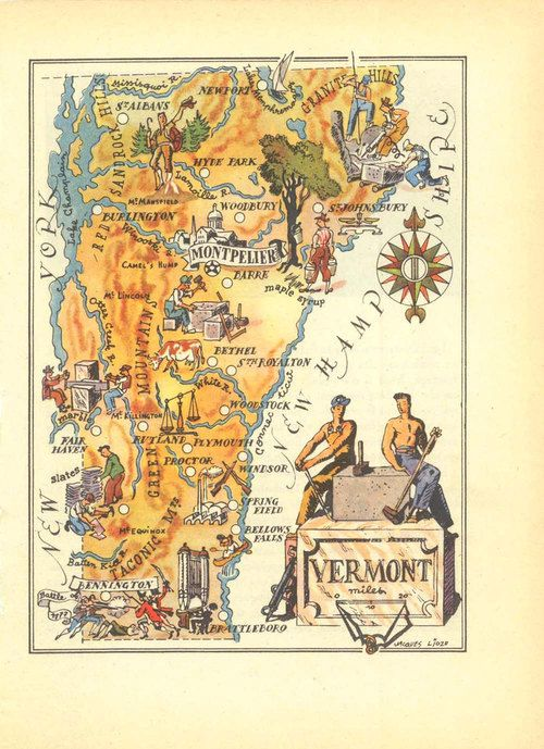 Vermont Map Illustrated 1946