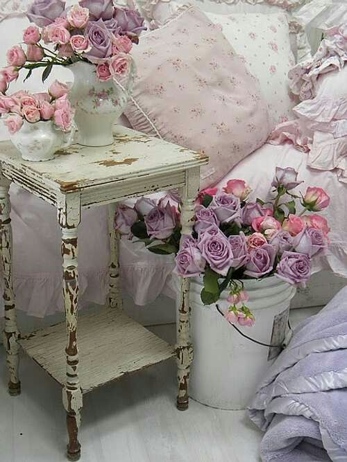 Shabby Chic Bedside Table Roses In A Bucketdont You Just Love Bedrooms