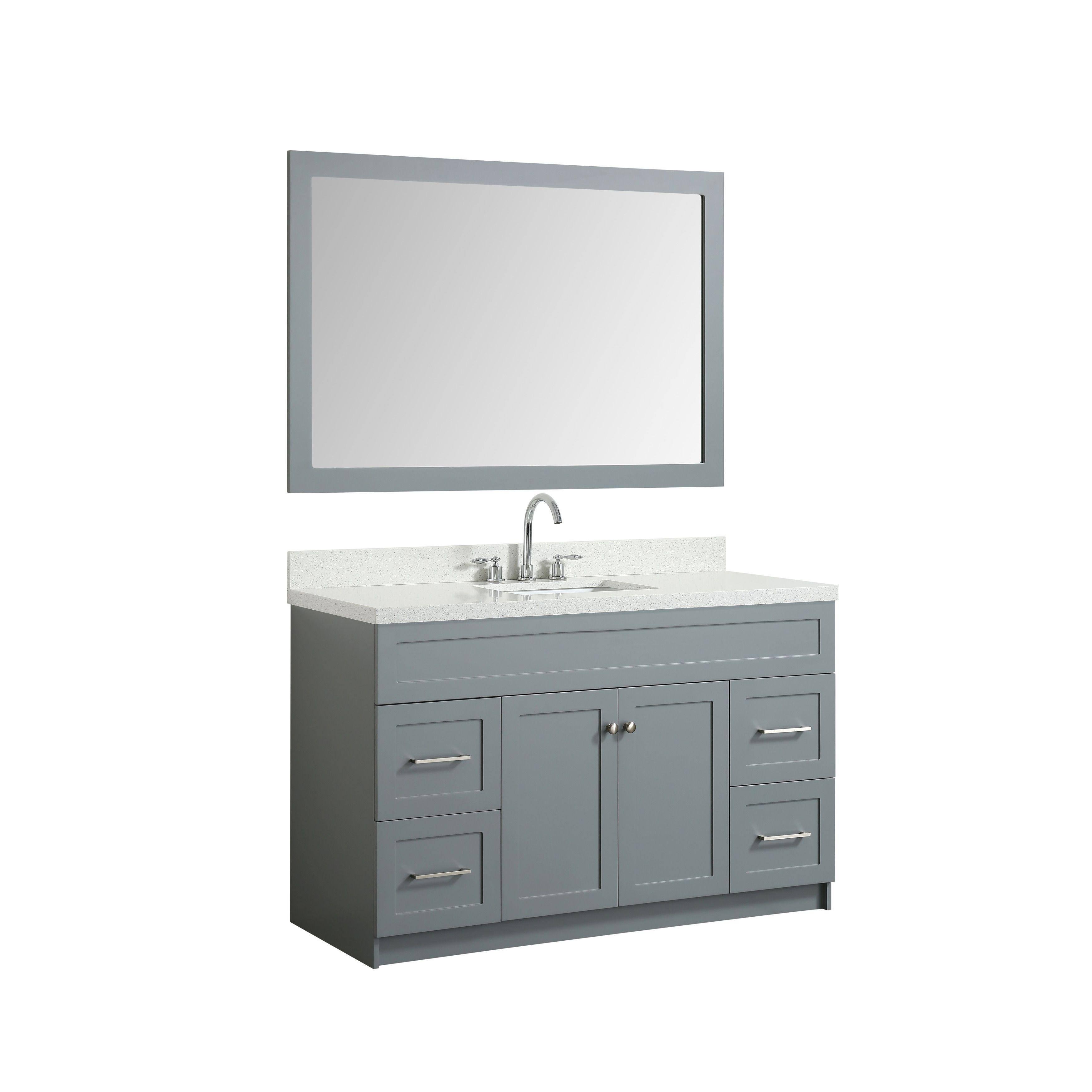 Ariel Hamlet 55 In Single Sink Vanity Set With White Quartz