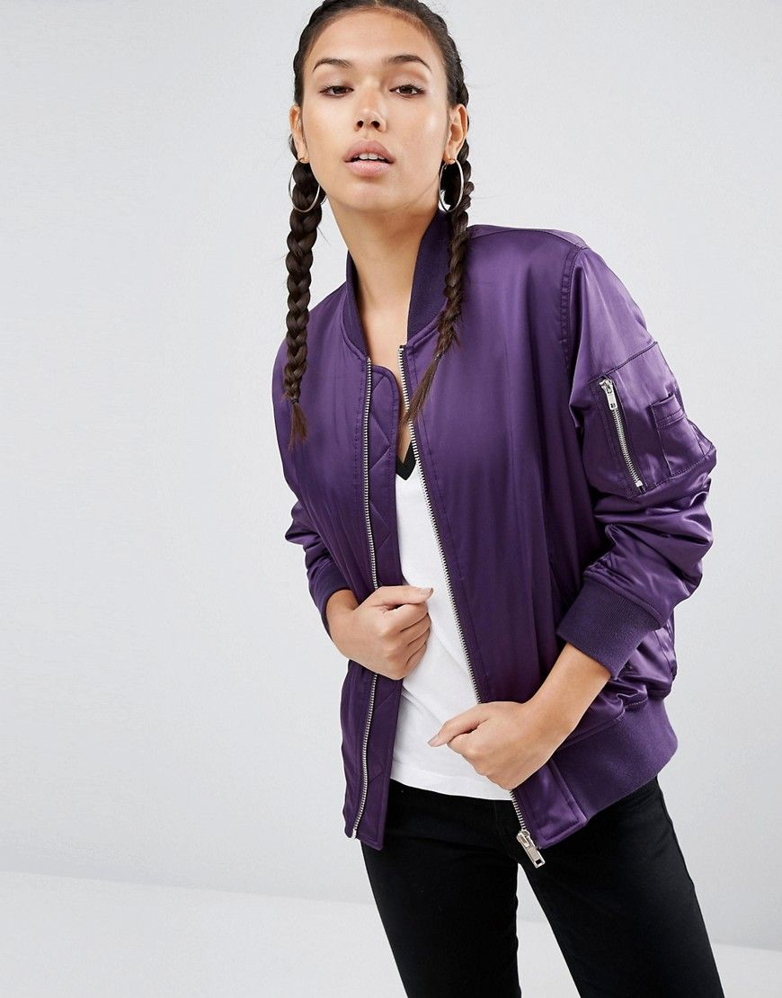 Asos Ultimate Bomber Jacket Purple Bomber Jacket Bomber Jacket Fashion Jacket Outfit Women [ 1110 x 870 Pixel ]