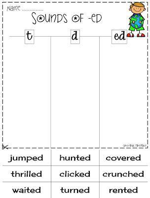 Risultati Immagini Per Ed Endings Pronunciation Worksheet