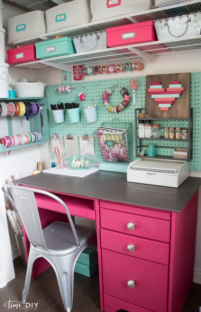 Convert Your Closet Into A Workspace By Adding A Desk And Pegboard To Create Vertical Wall Storage For You Dream Craft Room Craft Room Office Craft Room Design