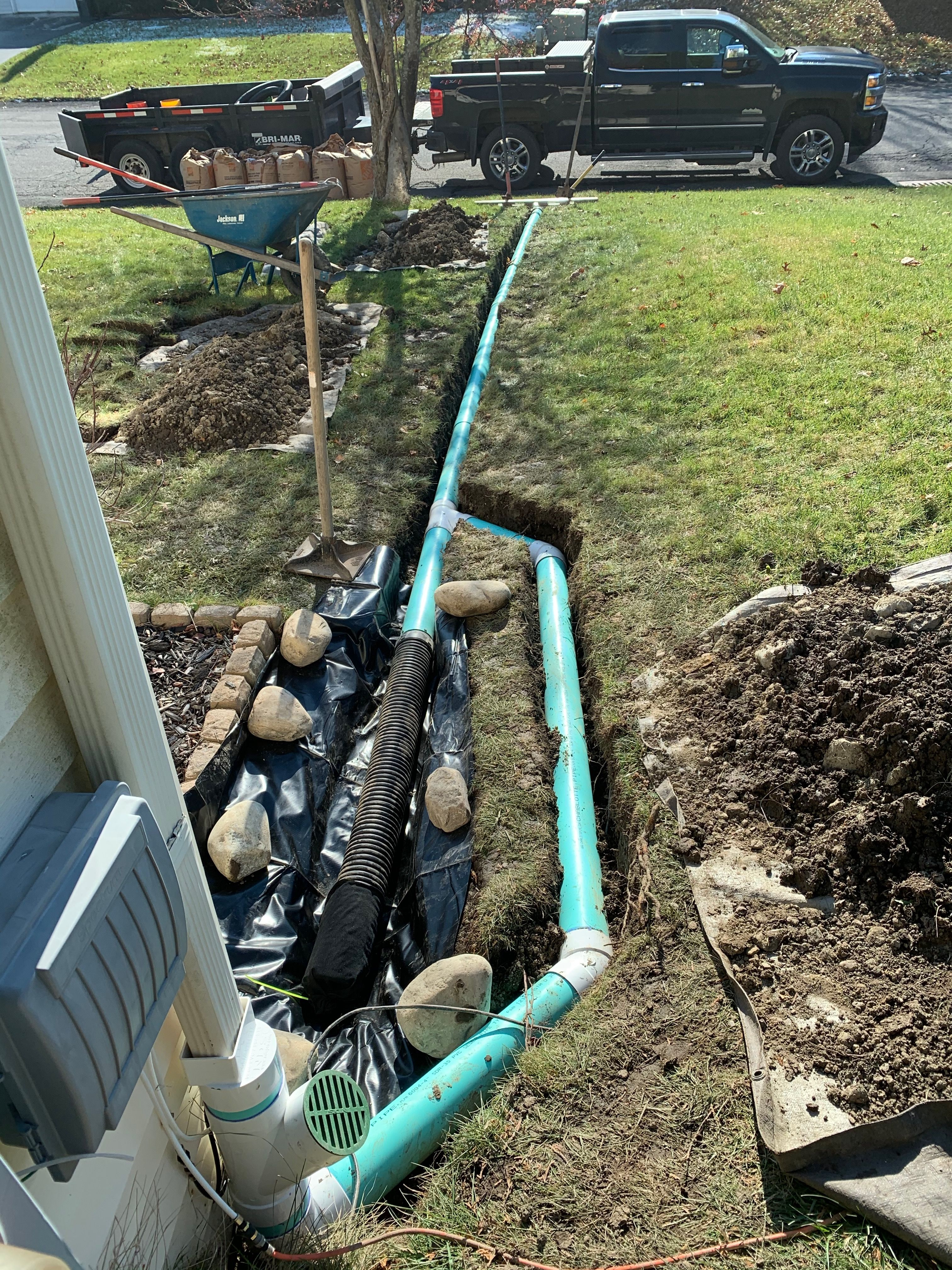Gutter Downspout Drainage And French Drain Install Wet Leaking