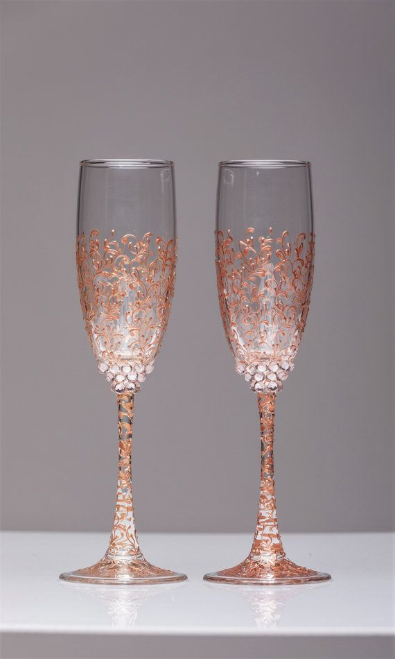 Personalized Wedding Glasses Rose Gold Personalized