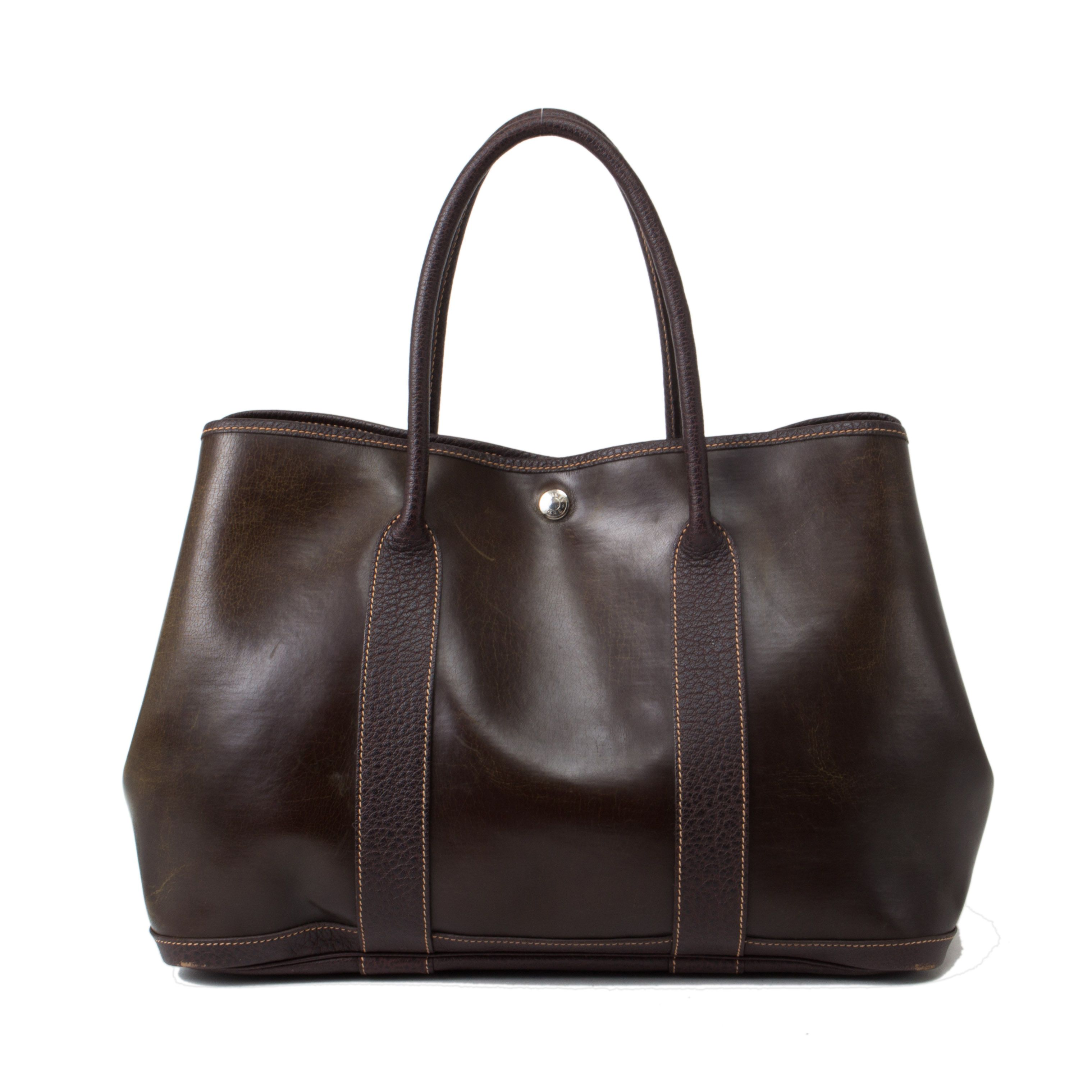 Hermes brown leather  Garden  Party bag. Available at lxrco.com for  599 640fdb717bc5c