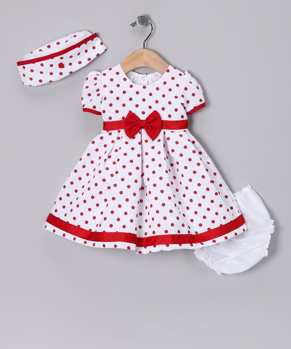 Loving this Shanil Red Polka Dot Collar Dress Set - Infant on #zulily! #zulilyfinds