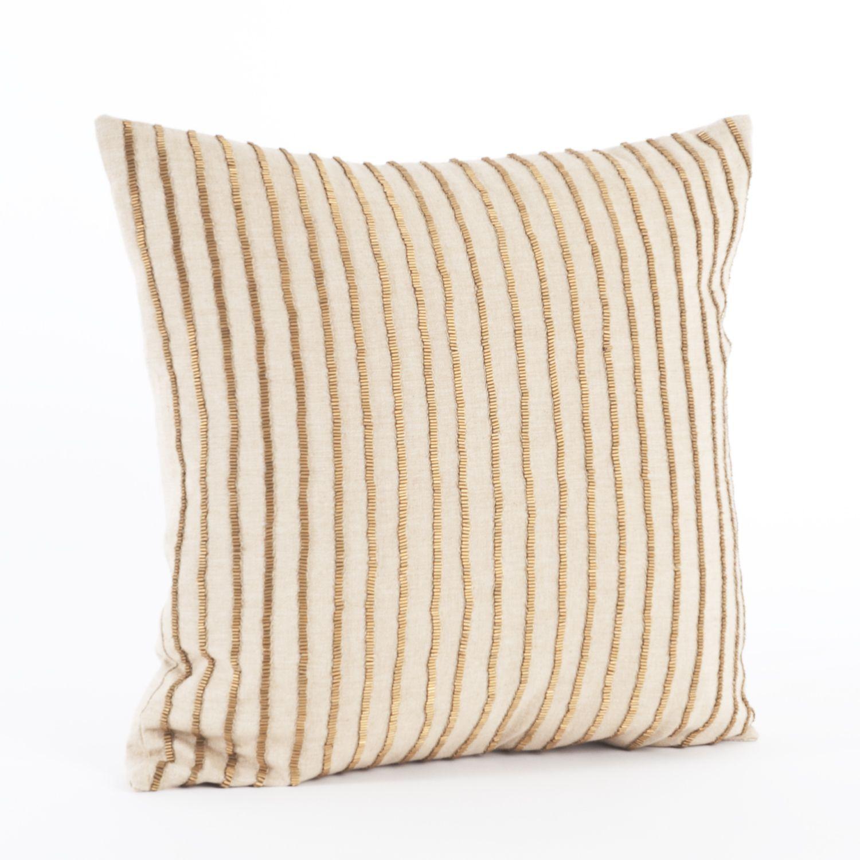 Saro Gold Beaded Down Filled Throw Pillow