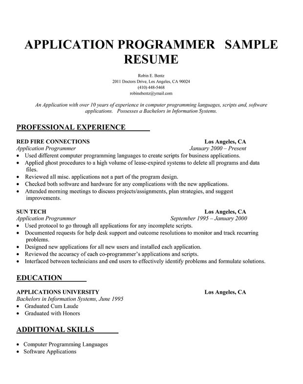 application  programmer resume       resumecompanion com