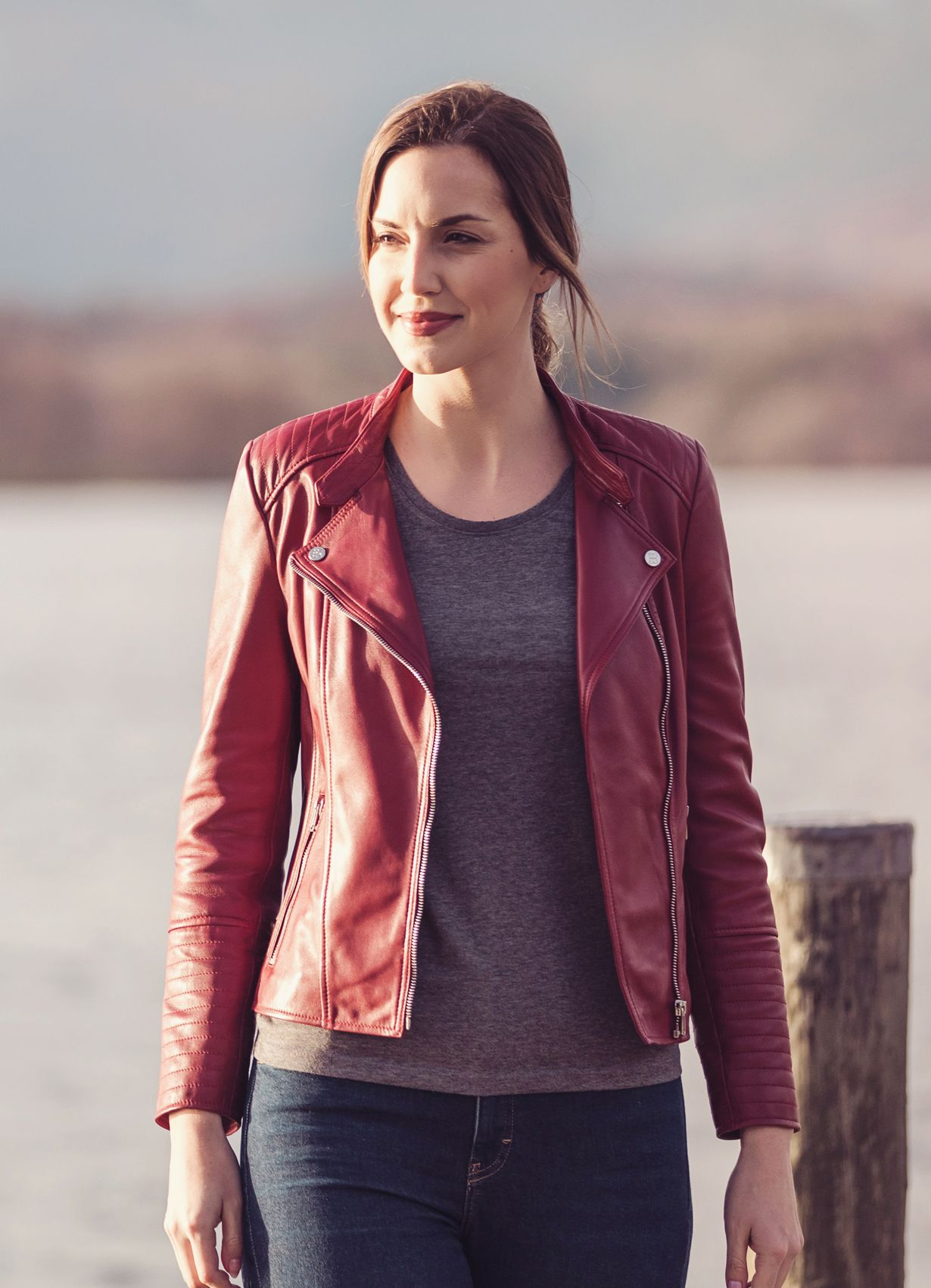 f258d28f7470 The Toni leather biker jacket will instantly inject some colour into your  new season wardrobe.