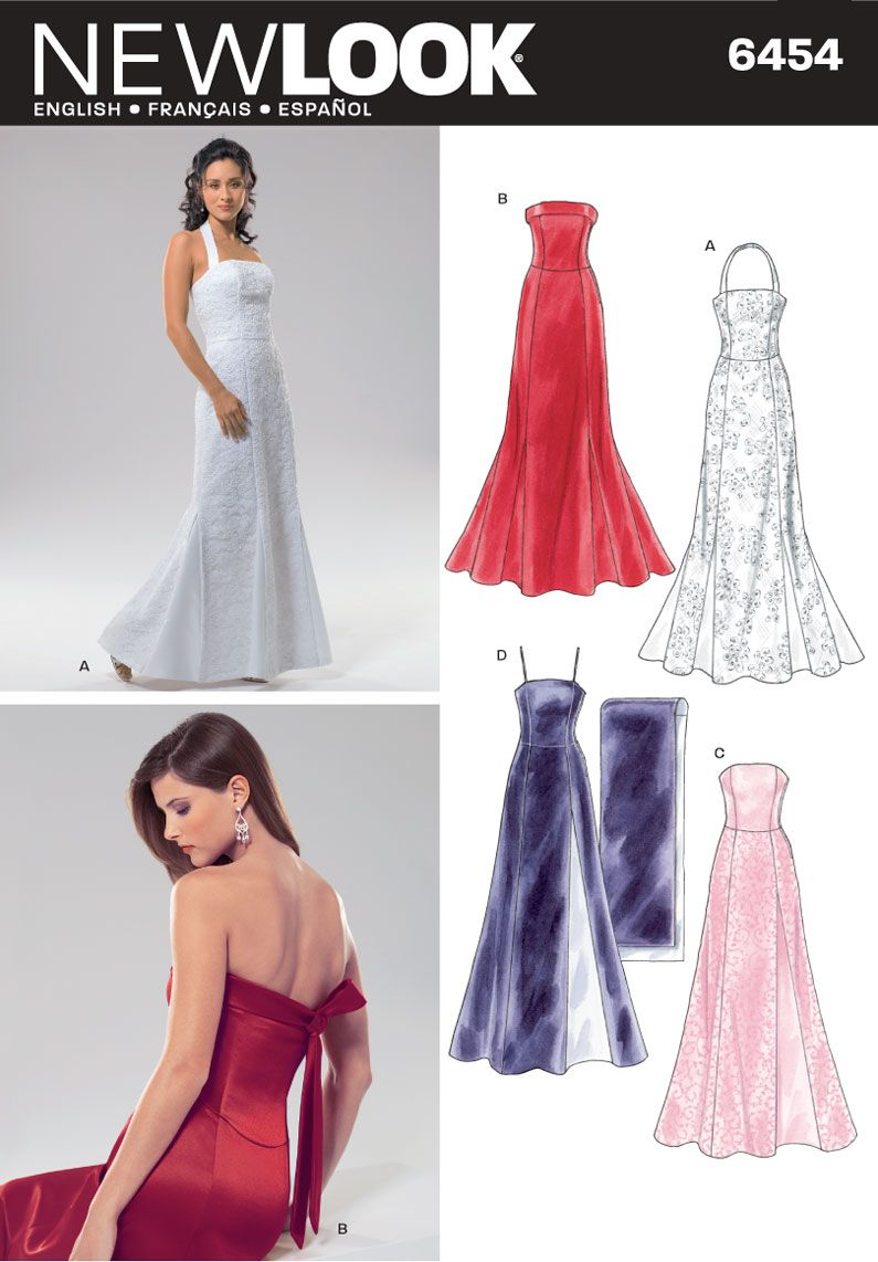Womens Evening Gowns and Shawl Sewing Pattern 6454 New Look Formal ...