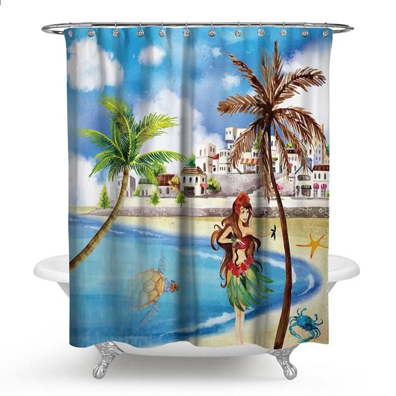 Beach Shower Curtain Seascape Theme Landscape Of The Beach And