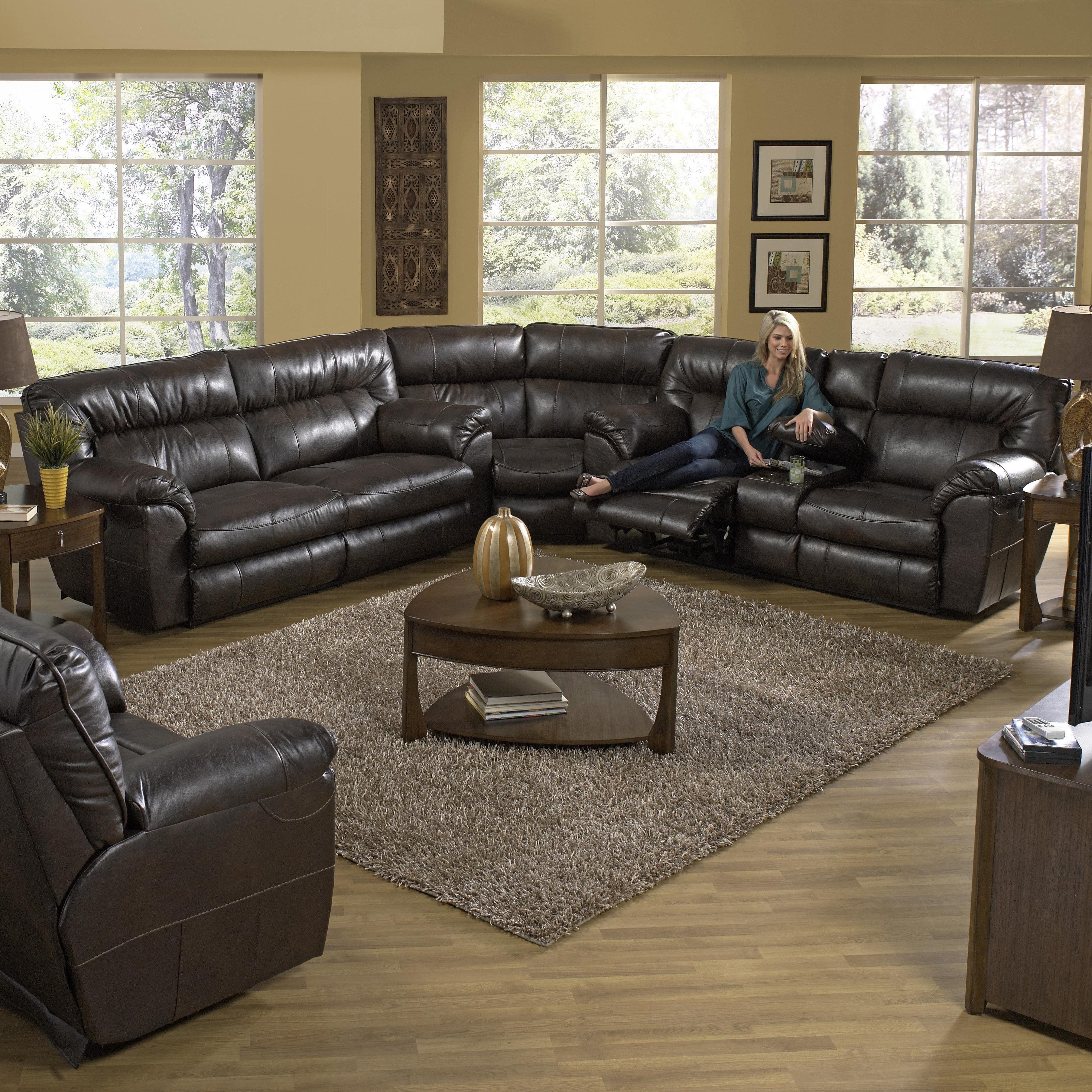 Catnapper nolan godiva sectional living room leather