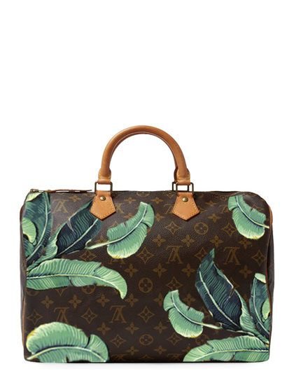 b37151a09f53 Hand Painted Customized Monogram Canvas Speedy 35 by Louis Vuitton at Gilt
