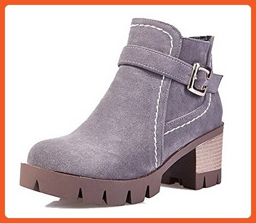 Women's Solid Low-Heels Round Closed Toe Imitated Suede Buckle Boots Gray 42