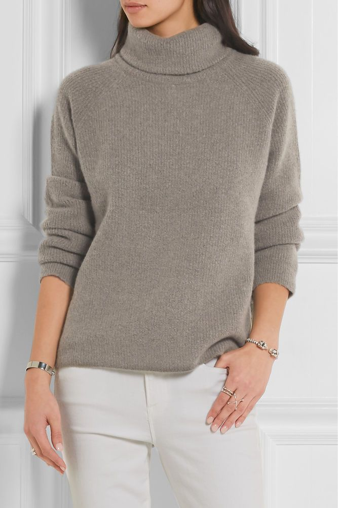 FRAME DENIM Le Funnel Neck Ribbed Knit Cashmere Blend Long Sleeve Sweater Grey #FrameDenim #FunnelNeck #Formal