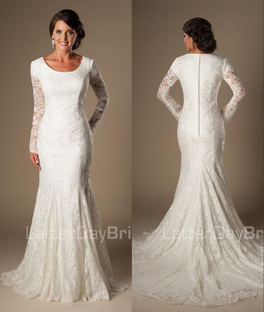 bc144bd2e7d Mermaid Lace Modest Temple Wedding Dresses With Long Sleeves Train Jewel  Neck Covered Button Back Long