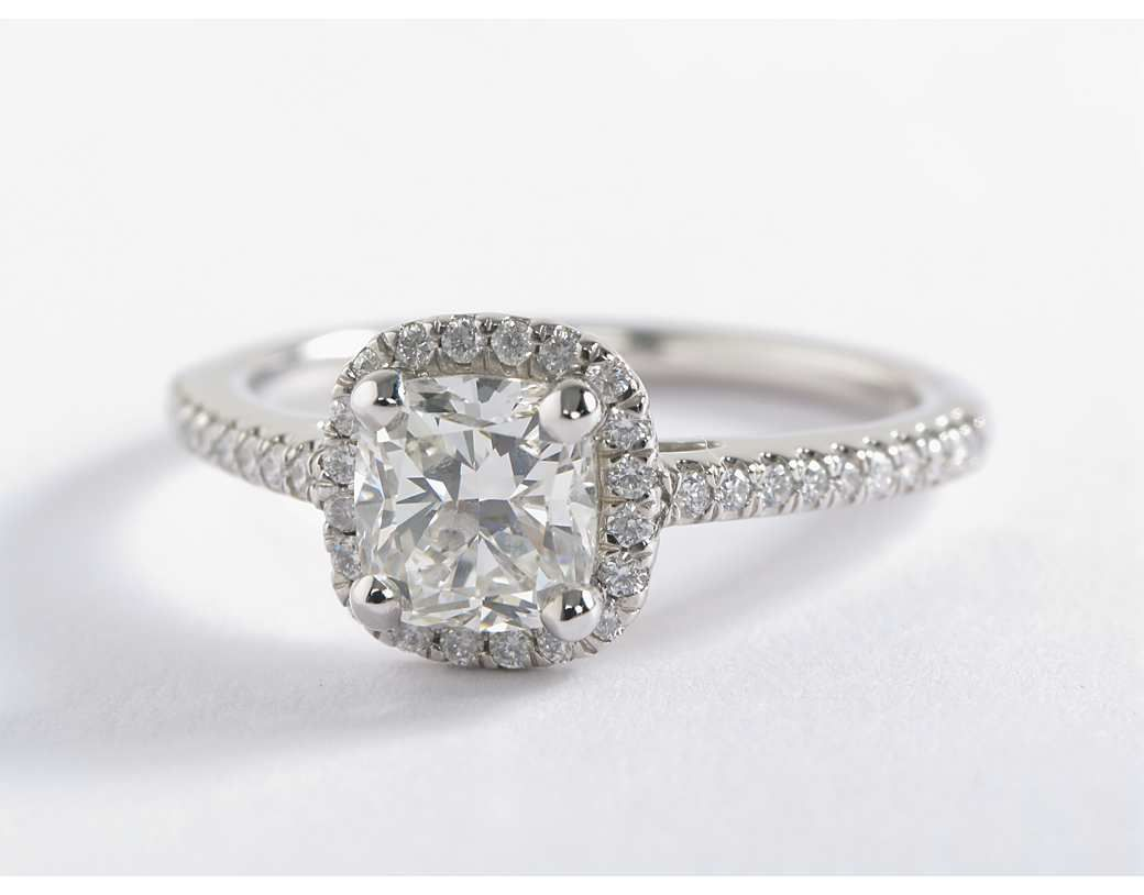 e6abb160d83 Cushion-Cut Halo Diamond Engagement Ring in 14k White Gold (1/4 ct ...