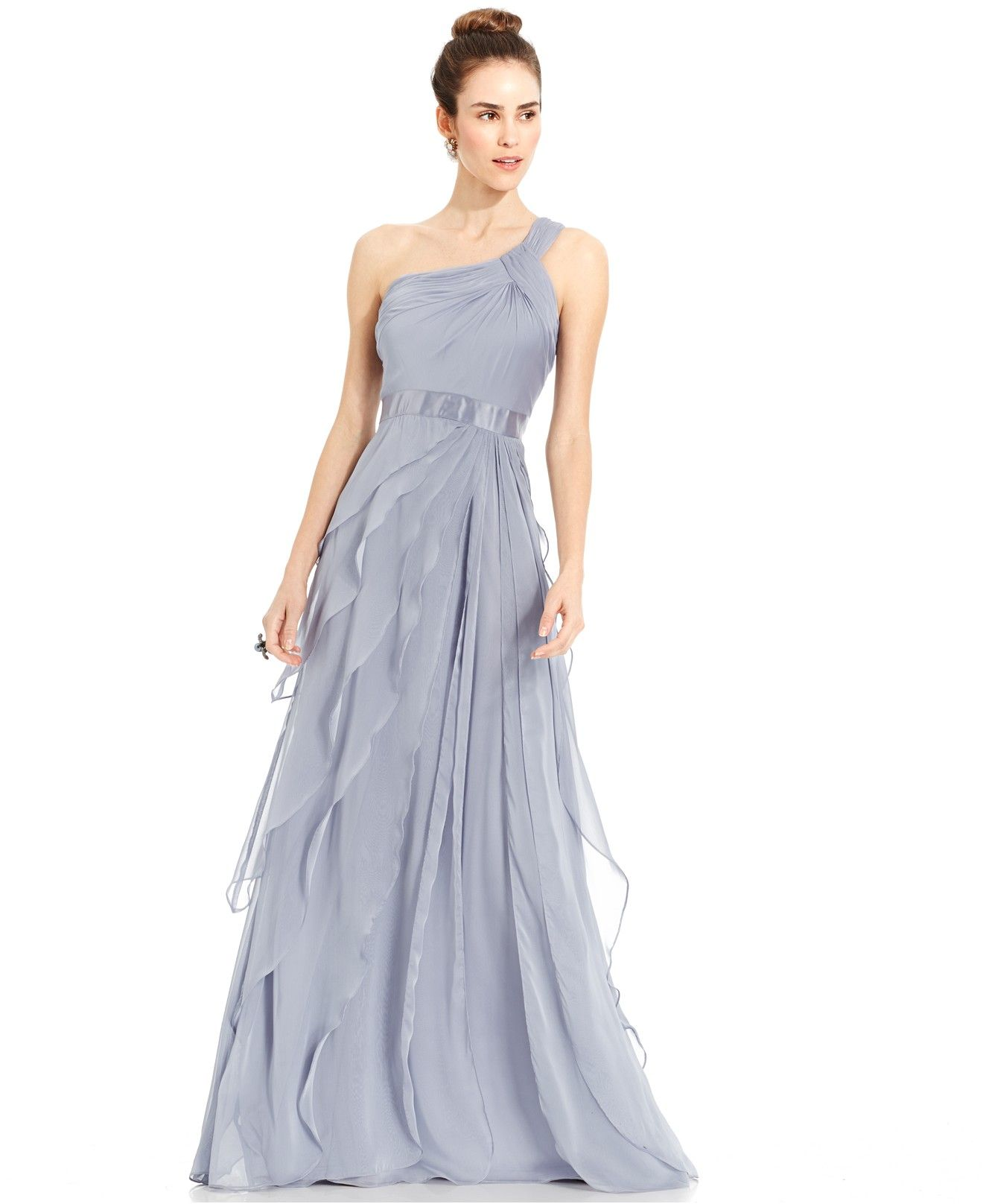 ddf91f0ece5 Bridesmaids Adrianna Papell One-Shoulder Tiered Chiffon Gown - Dresses -  Women - Macy s