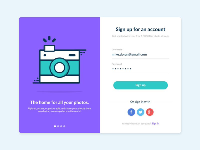 Daily UI challenge #001 Sign Up by Michael Doran