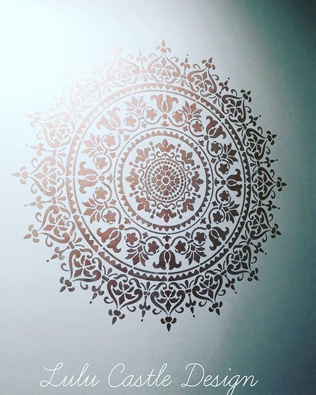 Outline For Accent Wall: An Oversized Mandala Painted On The Wall For DIY