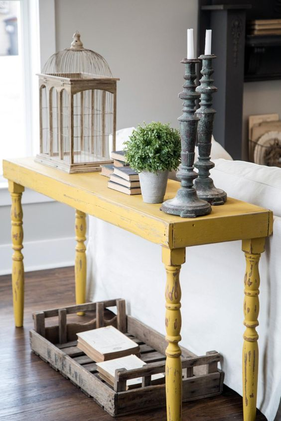 A Distressed Yellow Onsole Table Will Stand Out In A Grey Living Room Sofa Table Decor Home Furniture