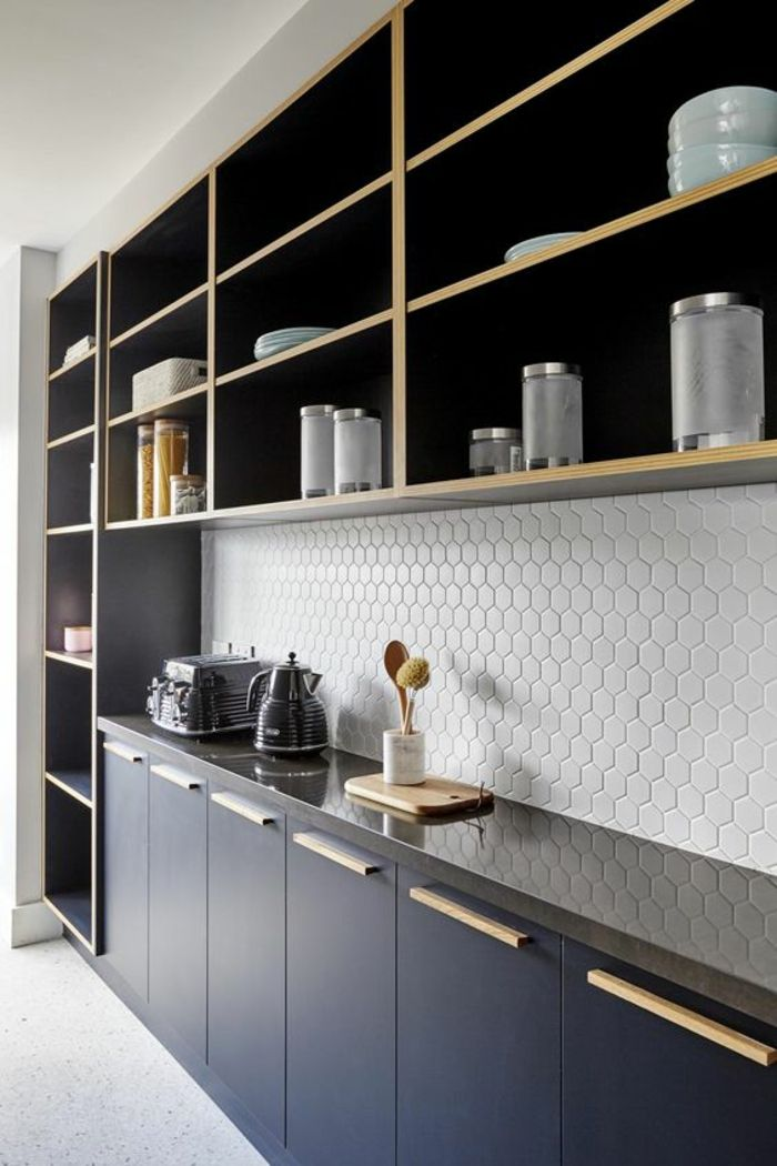 Idées Pour Une Cuisine Bleu Canard Les Intérieurs Qui - Grand meuble cuisine pour idees de deco de cuisine