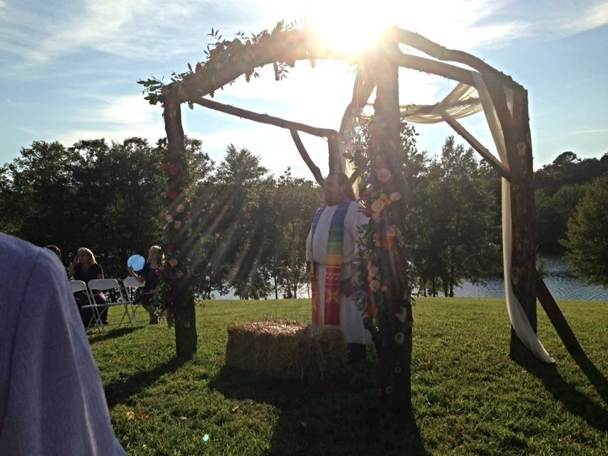 Sept 7th late afternoon wedding...love the sun beams with the minister