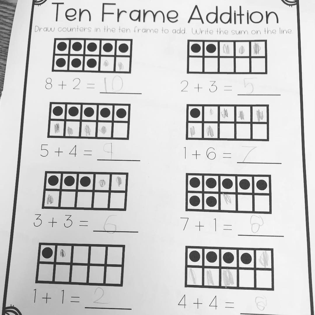 Ten Frame And Domino Model Addition Practice For First Grade First Grade Math Worksheets First Grade Math Math Wall