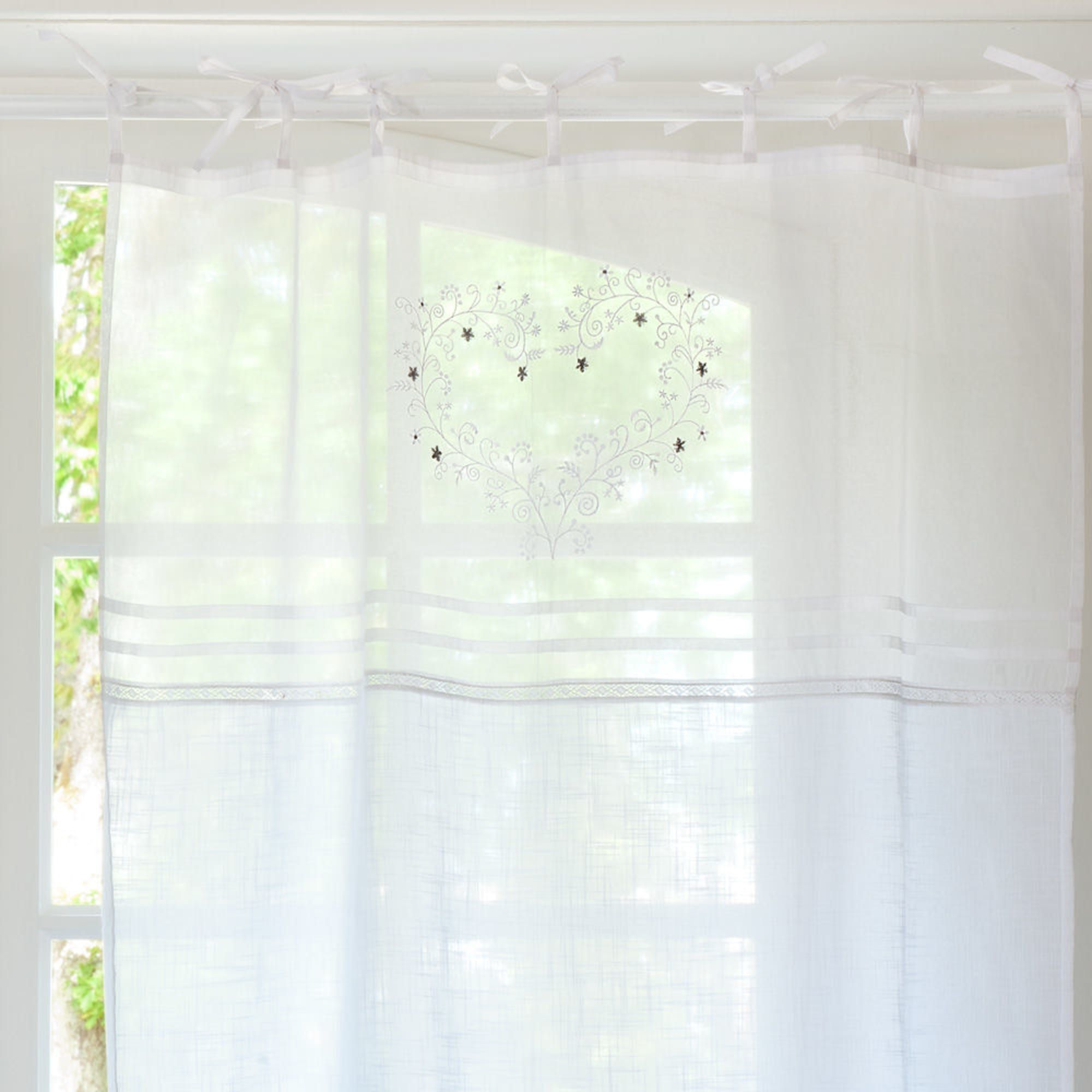 Single White Cotton Embroidered Tie Top Curtain 110x250