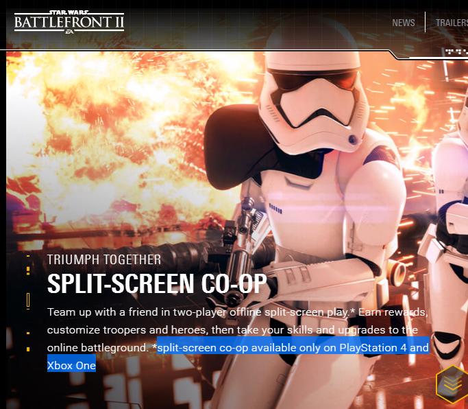 Star Wars Battlefront 2 2017 Will Not Have Split Screen Co Op On Pc Star Wars Battlefront Star Wars Battlefront