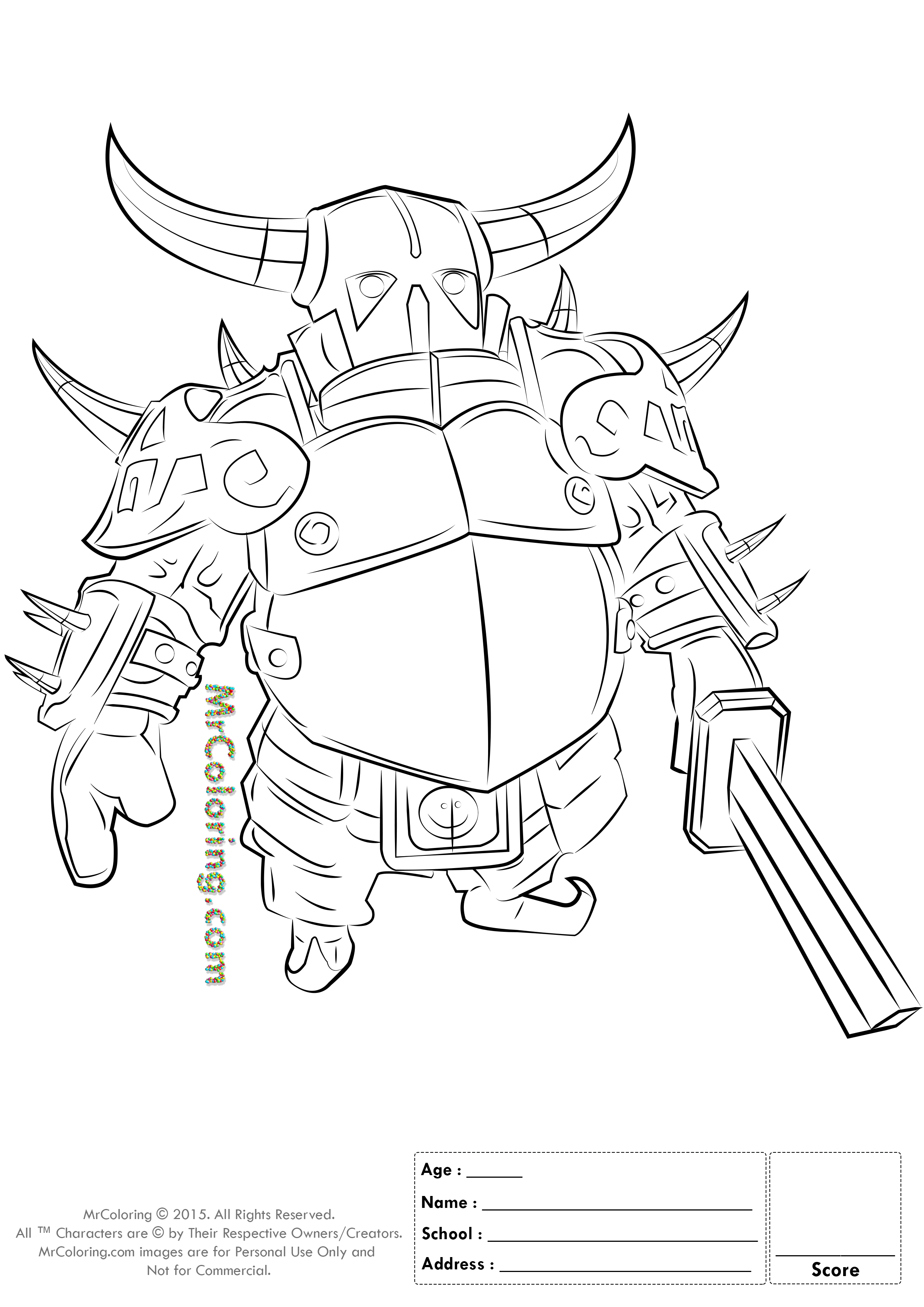 clash of clans coloring pages - free printable clash of clans pekka knight coloring pages