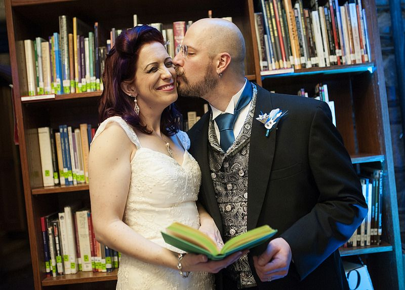Music and book themed wedding in a castle