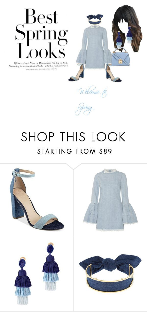 """""""Welcome To Sring"""" by whateveryousayman on Polyvore featuring H&M, GUESS, Marques'Almeida, Oscar de la Renta, Monica Sordo, Mark Cross, Blue and polyvorefashion"""