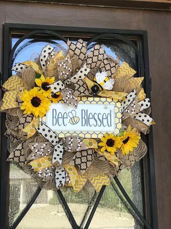 burlap Bumble bee wreath, bumblebee bee blessed, s