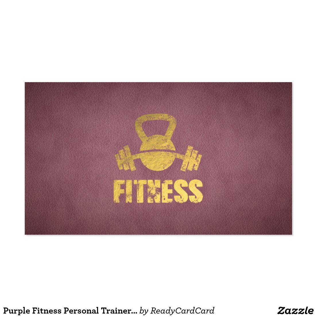 Purple Fitness Personal Trainer Kettlebell Barbell Business Card ...