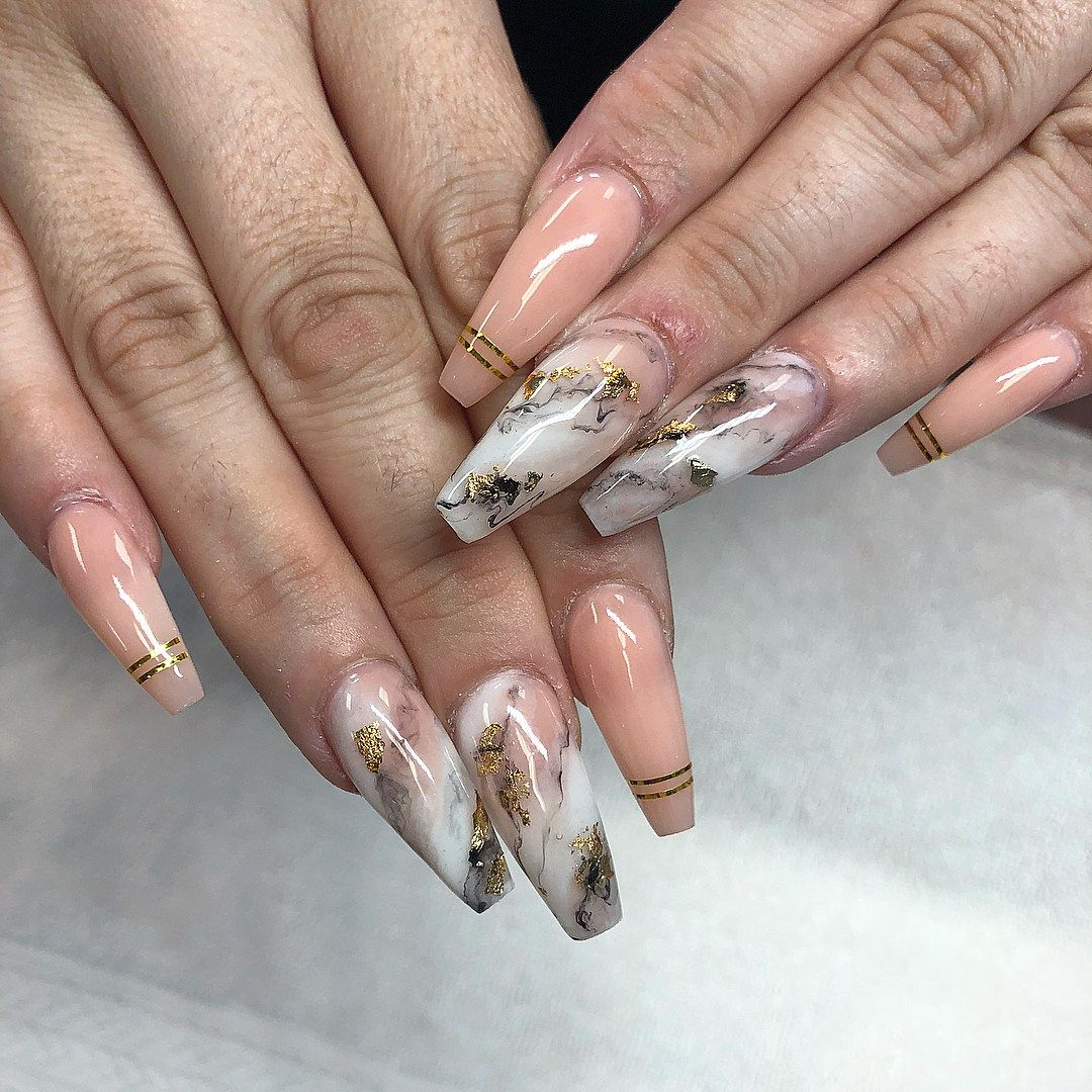 Beautiful marble affect nail art design