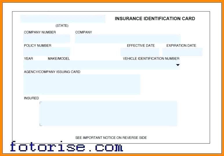 Auto Insurance Card Template Progressive Id Cards Car Free