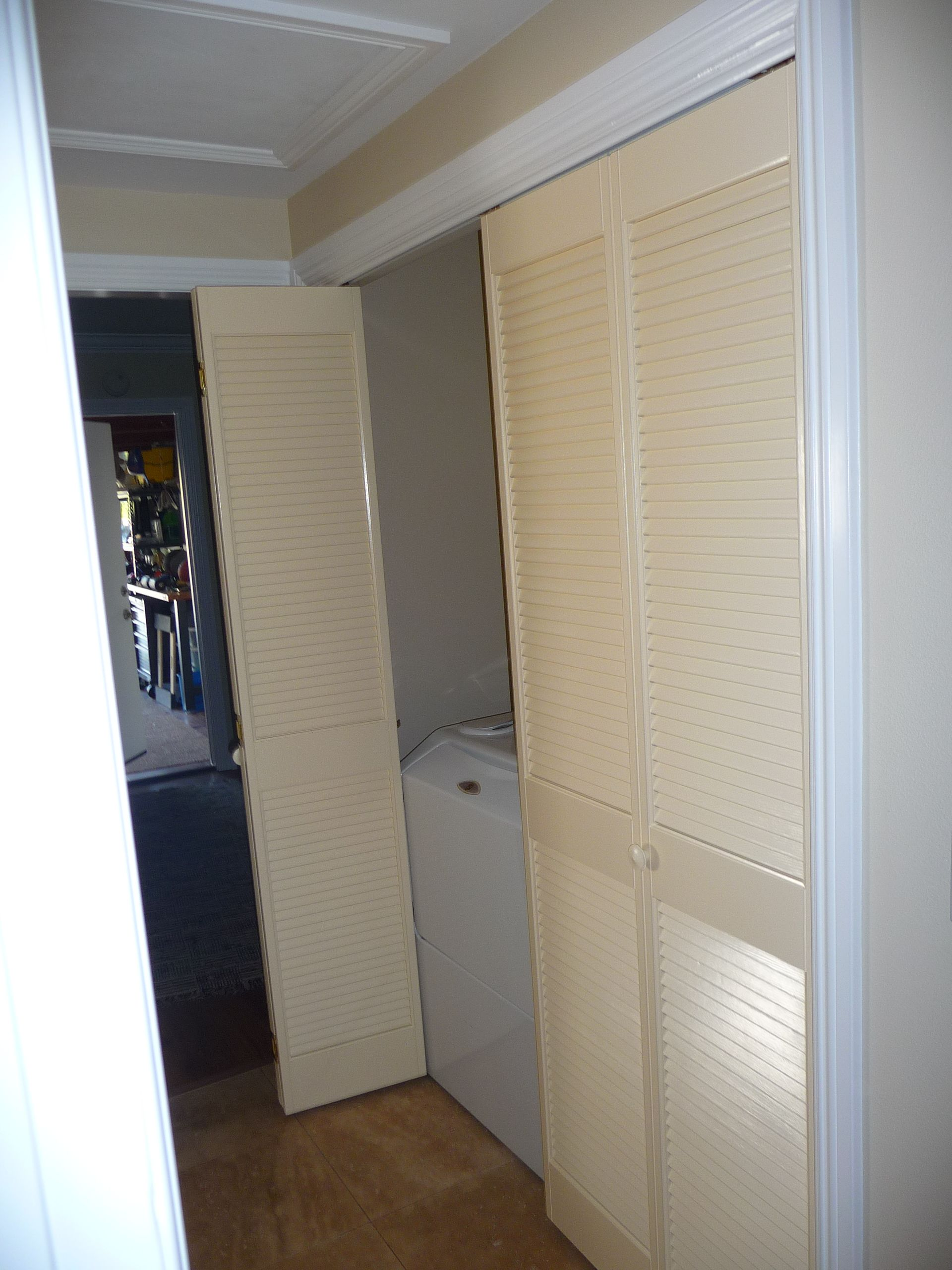 Louvered With Midrail Pine Bi Folding Closet Doors (half Open) Painted By  Classic Home Improvement Products Of Anaheim Hills, California