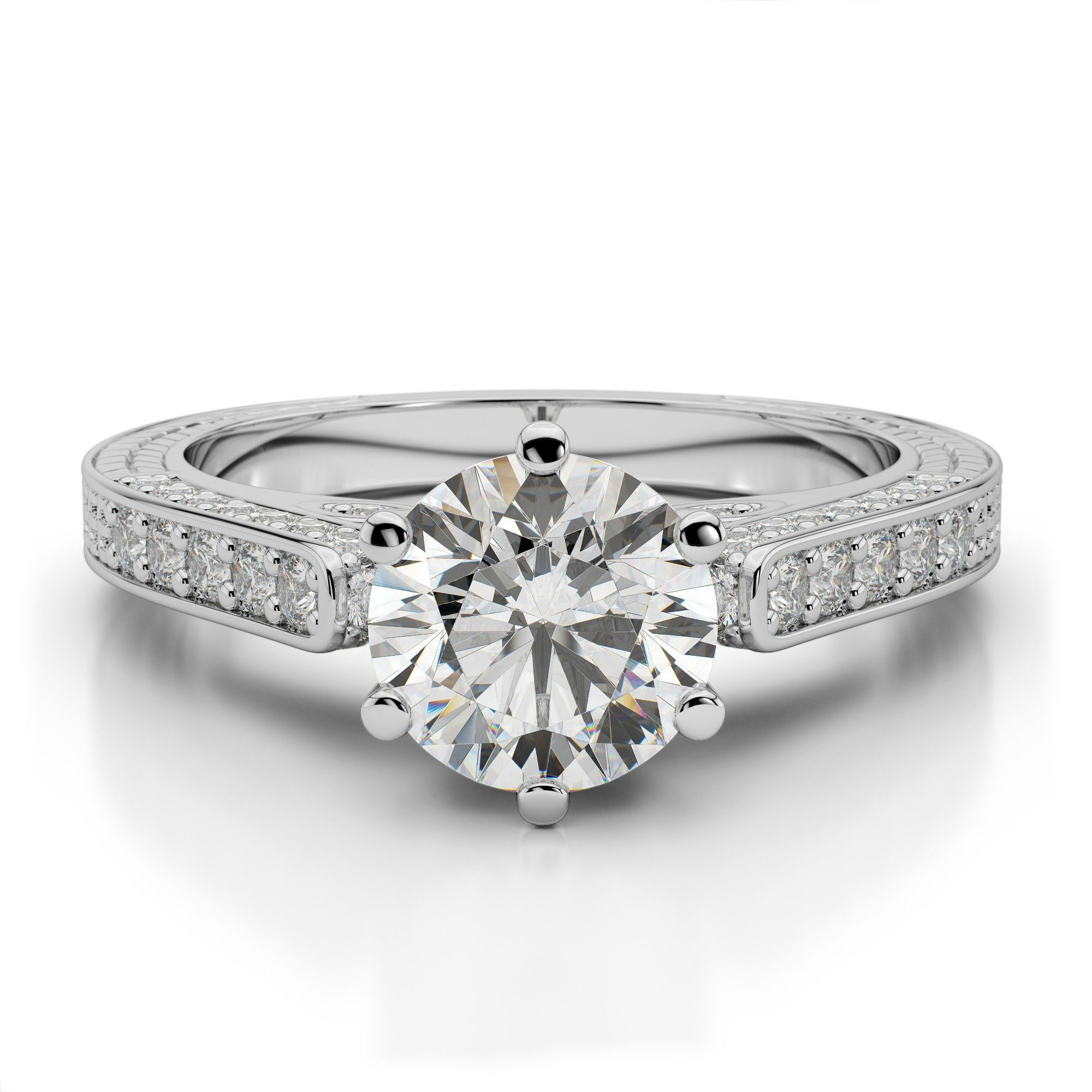 1.00 Carat Round Moissanite & Diamond Vintage Style