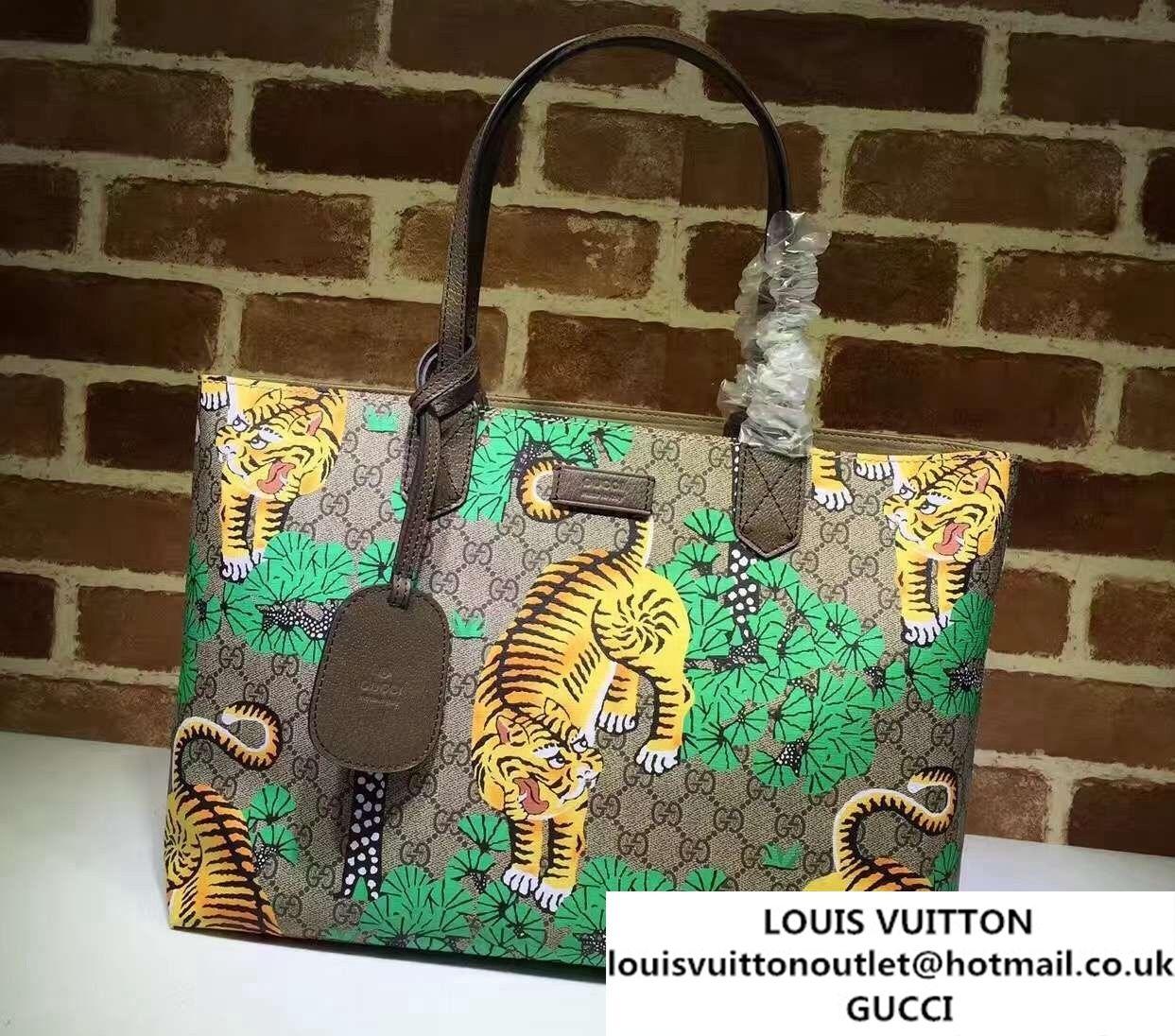 5a4bcc87a291 Gucci GG Supreme Web Medium Tote Bag 429002 Bengal Green 2016 ...