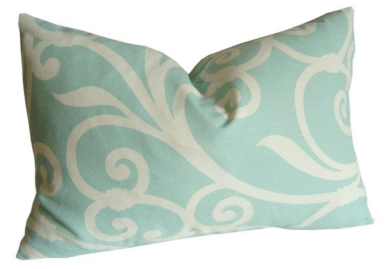 "SALE / Romano Scroll Lumbar Pillow Cover / 12"" x 20"" / Aquamarine, Off White / Designer Fabric / Hidden Zipper Closure"