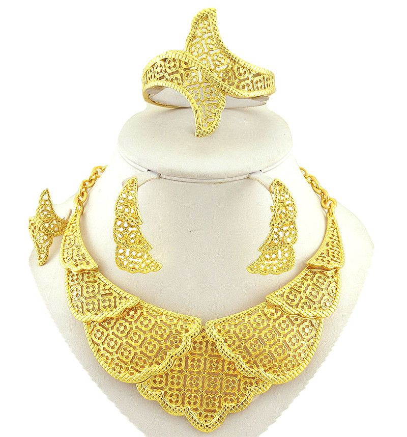 18K real gold plating jewelry sets high quality african big fine