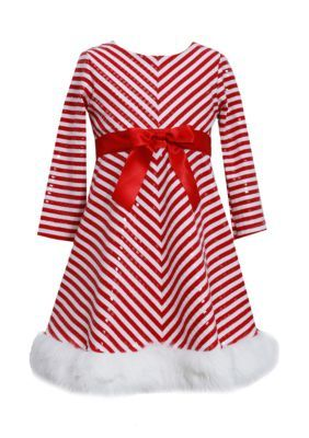 Bonnie Jean Girls Red Chevron Holiday Christmas Santa Gift Dress 4 5 6 6X New