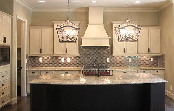 Double Chandelier Over The Kitchen Island In This Glamorous Extraordinary Chandelier Kitchen Inspiration