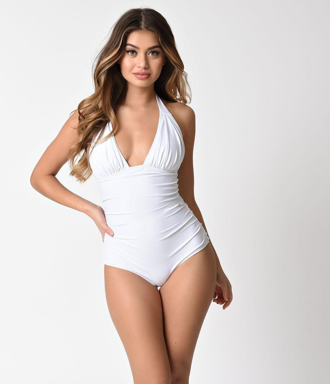 00c2ecf2f7 Unique Vintage White Halter Miranda One Piece Swimsuit
